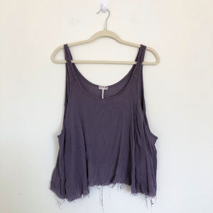 Intimately Free People Purple Top with Frayed Hem